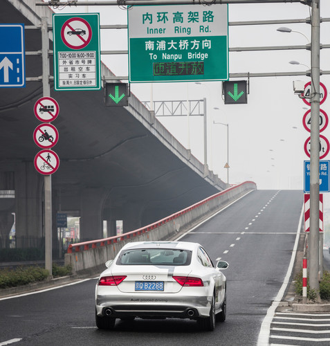 Audi A7 Sportback Piloted Driving in Shanghai.