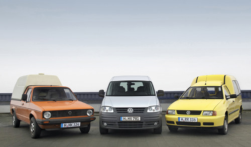 Drei Generationen Volkswagen Caddy.