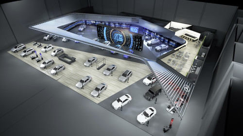 Geplanter Messestand von Mercedes-Benz Cars auf dem Autosalon in Paris.