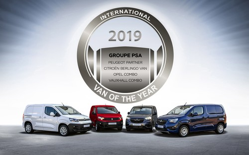 """International Van of the Year 2019"" (v.l.): Citroen Berlingo Kastenwagen, Peugeot Partner,  Opel Combo und Vauxhall Combo."