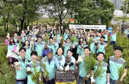 "Kia-Beschäftigte bei der ""Green Light Volunteer Week 2019"" in Seoul."