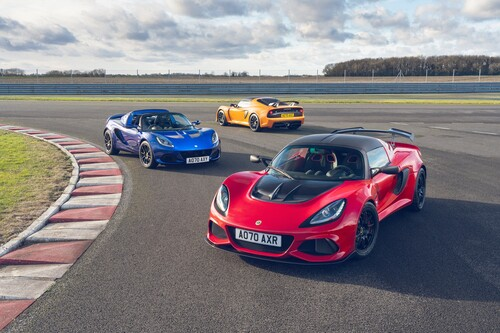 Lotus Elise (l.) und Exige (r. u. h.) Final Edition.