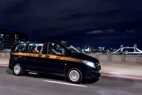 "Mercedes-Benz Vito Taxi ""Black Cab"" in London."