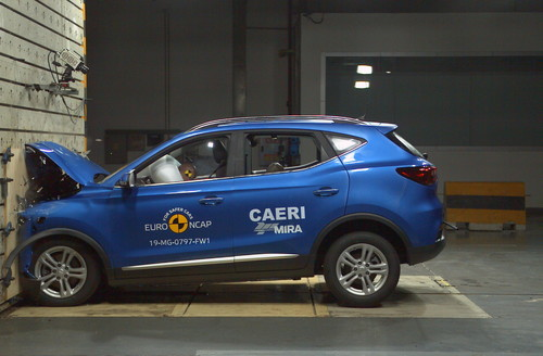 MG ZS EV beim Euro-NCAP-Crashtest.