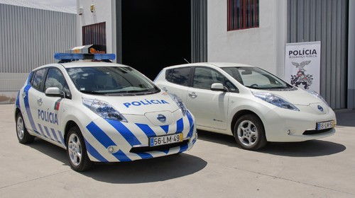 Nissan Leaf als Polizeiauto in Portugal.