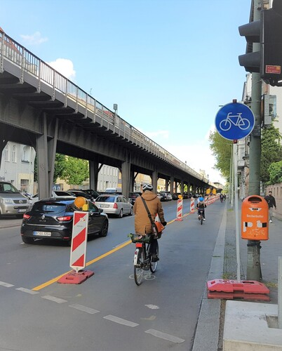 Pop-up-Radweg in Berlin.