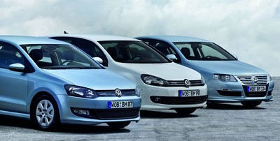 Volkswagen Polo Blue Motion, Golf Blue Motion und Passat Blue Motion.