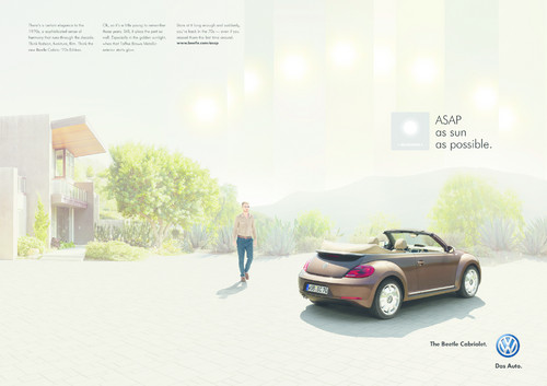 "VW Beetle Kampagne ""As sun as possible""."