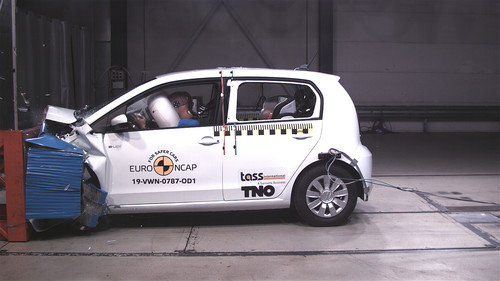 VW e-Up beim Euro-NCAP-Crashtest.