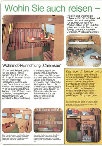 Ford Transit-Historie: Prospekt Westfalia Wannsee.