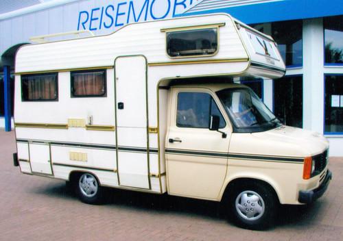 Ford Transit-Historie: Ein Alkovenmobil von Eura auf Transit-Basis.