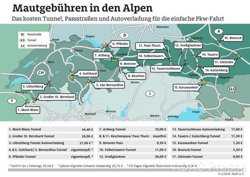 Egal, ob eine streckenabhängige Maut oder eine Vignette bezahlt werden muss  – in den Alpen kosten viele Pässe und Tunnel extra.