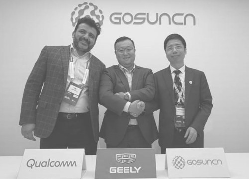 Nakui Duggai, Qualcomm Technologies, Shen Ziyu, Geely Research Institute und Liu Shuangguang, Gosuncn Group (von links).