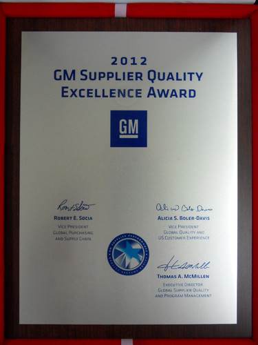 GM Supplier Quality Excellence Award.