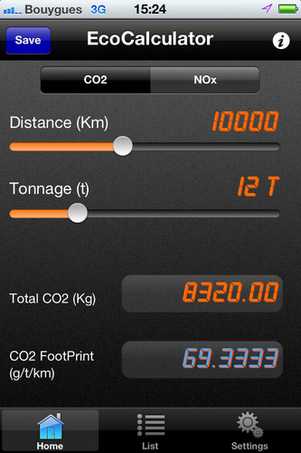 Eco-Calculator-App von Renault Trucks.