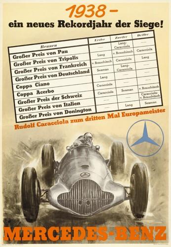 """Mercedes-Benz Werbeplakat """"1938 - ein neues Rekordjahr der Siege! Rudolf Caracciola zum dritten Mal Europameister""""."""