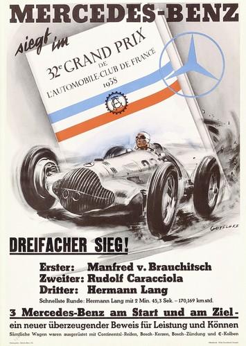 Großer Preis des französischen Automobilclubs, 1938. Rennsiegposter von Walter Gotschke.