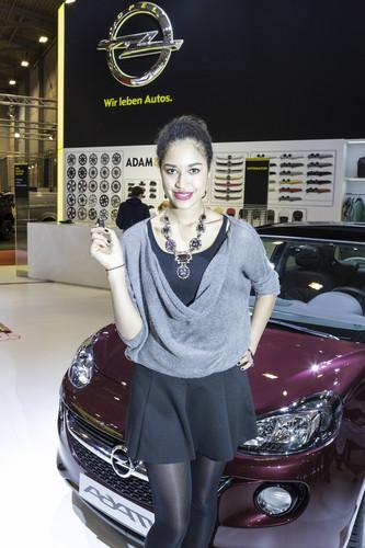 Germany's next Topmodel Lovelyn hat auf der Essen Motor Show ihren Opel Adam in Empfang genommen.
