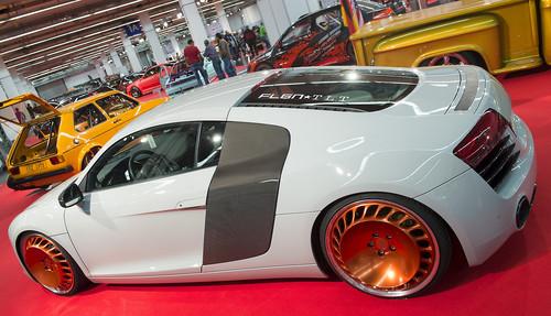Essen Motor Show 2013: Audi R8 mit voll einstellbarem Gewindefahrwerk und mehrteiligen Messer-Felgen.