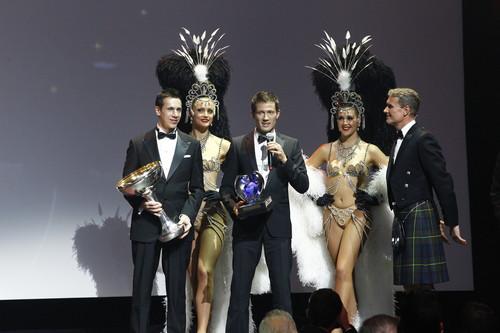 Ehrung für die Weltmeister (v.l.): Julien Ingrassia, Sébastien Ogier und David Coulthard.