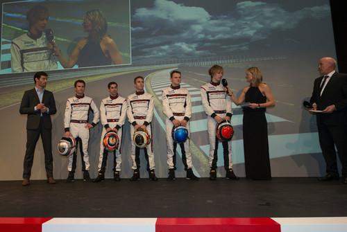 Posche Motorsport in der Saison 2014: Fahrerkader Porsche LMP1, Mark Webber, Romain Dumas, Neel Jani, Timo Bernhard, Marc Lieb, Brendon Hartley (l-r)