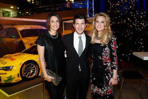 Mike Rockenfeller mit Partnerin Susanne und Moderatorin Christina Surer (rechts) bei der  ADAC Sportgala 2013.