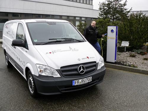 Der Freiburger Elektroinstallateurmeister Reiner Ullmann setzt auf den Mercedes-Benz Vito E-Cell.