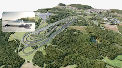 Animation des aktuellen Planungsstandes für das Prüf- und Technologiezentrum Immendingen. Hervorgehoben ist die so genannte  Bertha-Fläche, die für die Erprobung von hochautomatisiert fahrenden Fahrzeugen ausgelegt ist.
