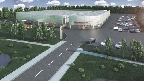 Porsche-Zentrum Hamburg Nord-West in der Nähe des Autobahn-Dreiecks Hamburg Nord-West (Visualisierung).