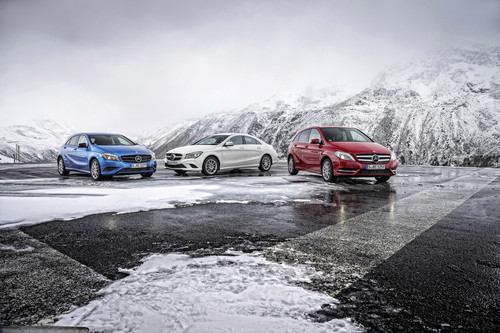Kompaktbaureihen von Mercedes-Benz (v.l.): A-Klasse, CLA und B-Klasse.