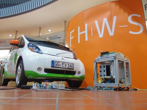 Mitsubishi EV (i-MiEV) als Energiespeicher für das Einspeisen von Strom in Hausnetze.