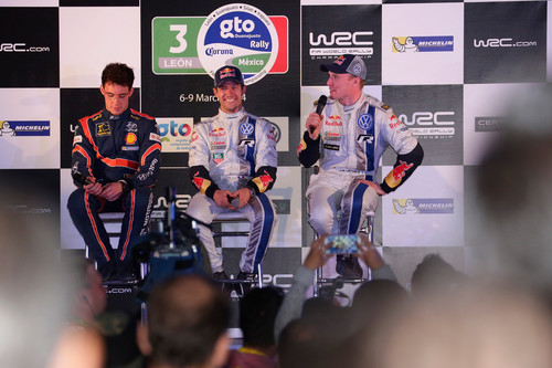 WRC-Lauf in Mexico: Neuville, Ogier, Latvala (von links).
