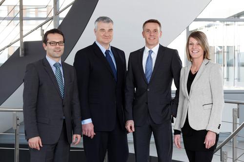 Kommunikation und Marketing bei Schaeffler (von links): Martin Adelhardt, Jörg Walz, Christoph Beumelburg und Jasmin Löffler.