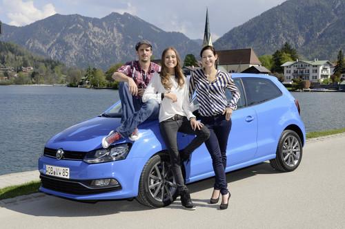 Schauspieler Max von Thun, Model Alena Gerber und Sängerin Siri Svegler (v.l.n.r.) bei der Fahrpräsentation des neuen Polo und Cross Polo.