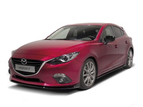 Mazda3 mit sportlichem Zubehör.