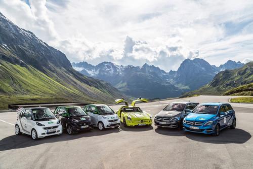 Mercedes-Benz-Flotte bei der E-Silvretta 2014.