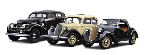 Drei Skoda-Automobil-Ikonen werden 80 Jahre alt: Das Trio Superb, Rapid und Popular.
