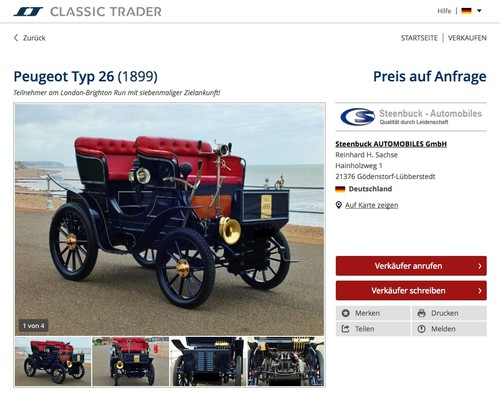 Classic-Trader-Anzeige: Peugeot Typ 26 (1899).