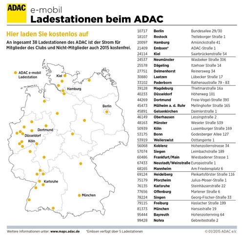 E-Mobil-Ladestationen beim ADAC.