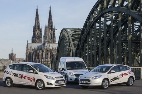 "Modellprojekt ""ColognE-mobil"" (v.l.): Ford C-Max Energi, Transit Connect BEV und Focus Electric."