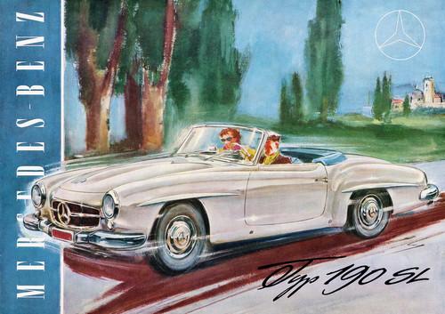 Mercedes-Benz 190 SL (W 121, 1955 bis 1963). Titelseite des Prospekts.