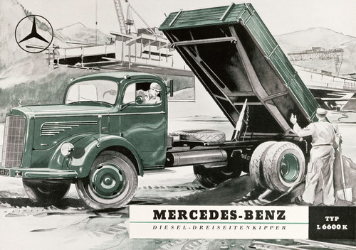 """Prospektdeckblatt von 1951 für den Mercedes-Benz """"Sechs-Sechser"""" (L 6600), der nach einer Modellpflege in LAK 315 umbenannt wurde."""