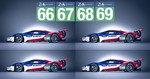 Vier Ford GT in Le Mans am Start